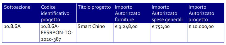 Descrizione autorizzazione PON Smart Chino